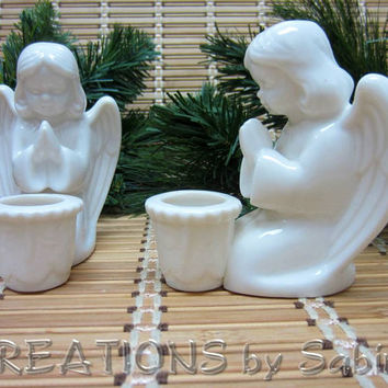 White Porcelain Angel Candle Holder / Holiday Christmas Gift Decor Collectible / Prayer Praying Taper Candle / Vintage / FREE SHIPPING (200)