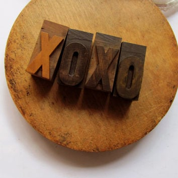 Vintage Letterpress Letter X Letter O Letters XO Hugs Kisses Printer Block X O Stamp Engagement Love Stamp Wedding Decor Wood Type Printing