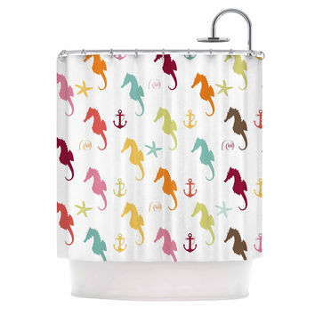 "afe images ""Colorful Seahorse Pattern"" Orange Yellow Illustration Shower Curtain"
