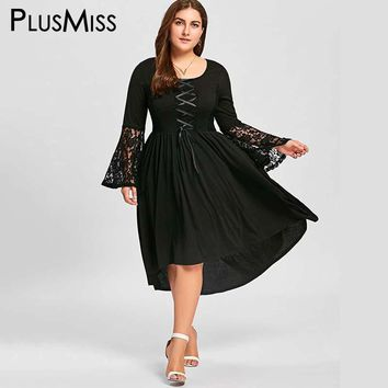 Plus Size 5XL Vintage Retro Floral Lace Crochet Loose Midi Dress Women Autumn 2017 Mesh Sheer Flare Sleeve Dress Big Size
