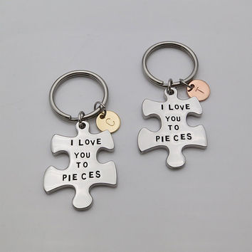 Two Tone Mother daughter Keychain I love you to pieces puzzle keychain Mom gift daughter gift personalized gifts BFF gift