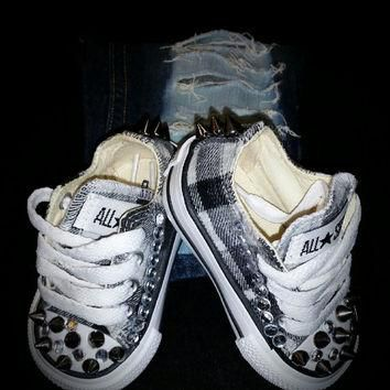 Boys Plaid Spiked and Studded Custom Converse: Pictured is a size 2