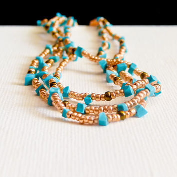 Turquoise jewelry Summer 2012 Boho chic golden by CallOfEarth