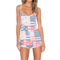 Wildfox Couture US Flag & Star Spangled Romper in Multi