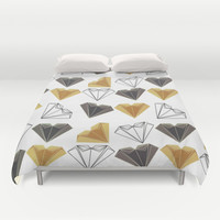 A heart is made of ... paper, scissors, rock  Duvet Cover by VessDSign