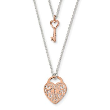 925 Sterling Silver and Rose-tone Heart Lock and Key 16in Necklace 16 Inch