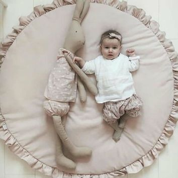 Newborn Baby Padded Play Mats Soft Cotton Crawling Mat Girls Game Rugs Round Floor Carpet For Kids Interior Room Decorate