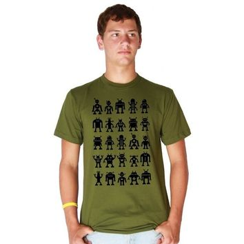 Black Robot Attack MENS American Apparel Fine Jersey Tee