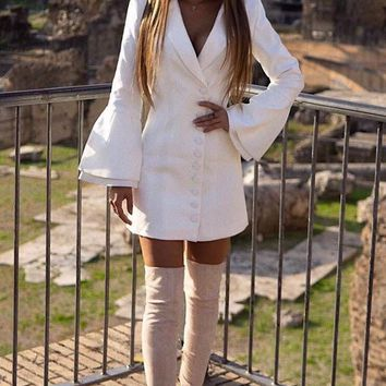 Dressed to Kill Long Bell Sleeve Button Blazer Bodycon Mini Dress - 2 Colors Available