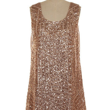 Champagne Kisses Sequin Shift Dress - Gold
