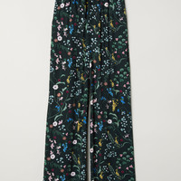 Paper bag trousers - Dark green/Floral - Ladies | H&M GB