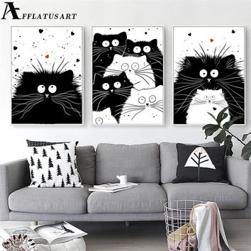 Black White Kawaii Cat Wall Posters