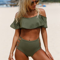 LaChilly New 2017 Sexy Oliver Ruffle Off Shoulder Bikini High Waist Swimsuit Sexy biquini Beach Swim Wear Bathing Suits LC410209
