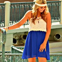 GO WITH THE FLOW DRESS IN ROYAL
