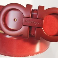 New Salvatore Ferragamo Men's Red Belt Logo Size 36 Gancini Leather