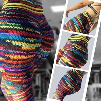 ACTIVEWEAR HIGH WAIST KNITTED PRINT LEGGINGS - Limited Edition