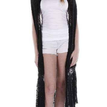 Long Crochet Vest Black