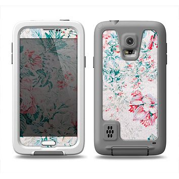 The Coral & Blue Grunge Watercolor Floral Samsung Galaxy S5 LifeProof Fre Case Skin Set