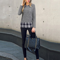 Gray Faux Twinset Long Sleeve Pullover Shirt