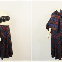 Vintage Skirt & Shawl / Scarf Set Mad Men Burgundy Purple Blue Plaid A Line Modern Medium