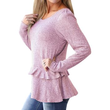 Female Sweatshirts Winter Women Kawaii Ruffles Hoodies O-neck Jumpers Pullovers Autumn Peplum Tops Long Sleeve Plus Size GV796