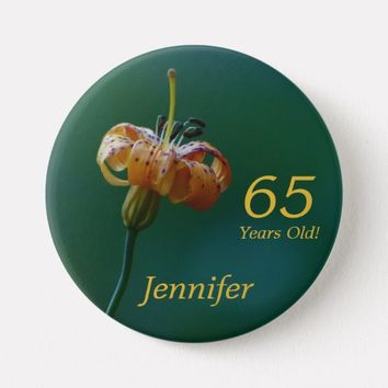 65 Years Old, Golden Lily Button Pin