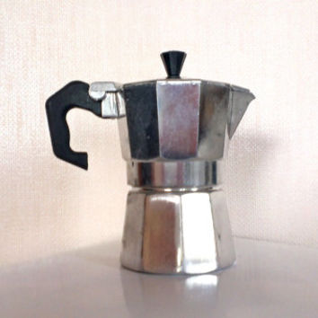 Vintage Italian Expresso coffee maker , Aluminum Hexagon coffee pot, junior expresso,mini coffee maker for one cup,Made in Italy