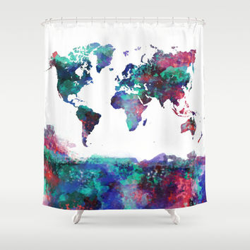 World Shower Curtain by Dara Denney