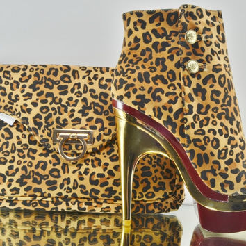 Leandra Leopard Gold / Red Contoured Heel Ankle Boot Matching Clutch