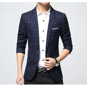 Mens Slim Fit Checkered Plaid Blazer