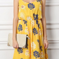 Yellow Floral Spaghetti Straps Pleated Mini Dress