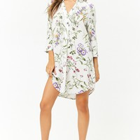 Floral Print Popover Shirt Dress
