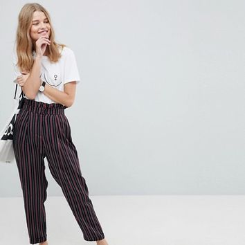 ASOS Tailored Tapered PANTS with Ruffle Paperbag Waist in Stripe at asos.com