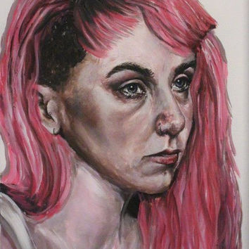 Depression in the Daylight - Self-Portrait Painting by Eilidh Morris Art - Young Woman Portraiture on Canvas - Realism Emotive