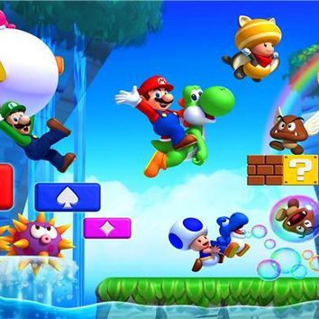 Super Mario party nes switch Custom Canvas Art  Poster  Bros Luigi Wall Stickers  Bros Wallpaper Game Mural Home Decoration #486# AT_80_8