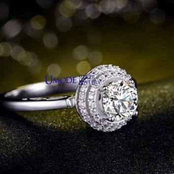 Cubic Zirconia Engagement Ring CZ Engagement Ring Round Cut Diamond Ring Sterling Silver Ring Halo Engagement Ring Wedding Ring Anniversary