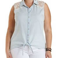 Plus Size Lace & Chambray Button-Up Top