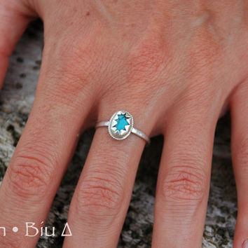 Simple Turquoise Ring, Star Ring, Gemstone Ring, Customized, Small RIng, Stack, Stackable, Stacking Ring, Womens ring