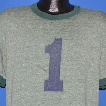 70s #1 Green Heathered Ringer t-shirt Extra Large