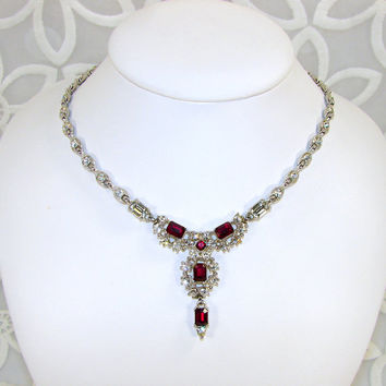 CORO Red Rhinestone Necklace 1950s Vintage Costume Jewelry Christmas Wedding Bridal Accessory Ruby Siam Crystal Holiday Ball