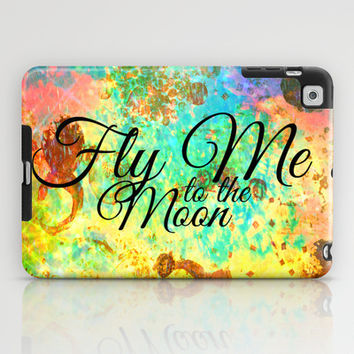 FLY ME TO THE MOON - Rainbow Bold Galactic Outer Space Orbit Stars Abstract Fine Art Typography iPad Case by EbiEmporium