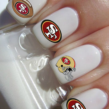 San Francisco 49ers NFL Football nail decals tattoos nail art