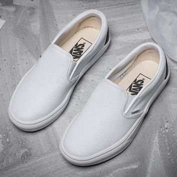 Vans Slip-On Leather Old Skool Flat Sneakers Sport Shoes Day-First™