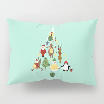 Christmas tree with reindeer, Santa Claus and bear Pillow Sham by Graf Illustration