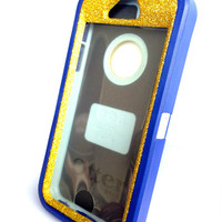 OtterBox Defender Series Case iPhone 5s Glitter Cute Sparkly Bling Defender Series Custom Case Blue / Gold
