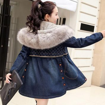 New Autumn Winter Women Coats Vestido Plus Size Causal Loose Removable Collar Thick Jeans Coat For Women Large Denim Outerwear