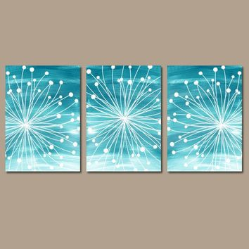 DANDELION WALL ART, Teal Bedroom Wall Art, Watercolor Canvas or Prints, Teal Bathroom Decor, Dandelion Pictures, Set of 3 Decor  Wall Decor