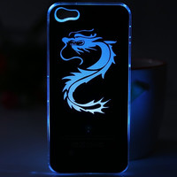 Cool Dragon Style Flasher LED Color Changed Protector PC Case for iPhone 5 (Color: Black) = 1842210948