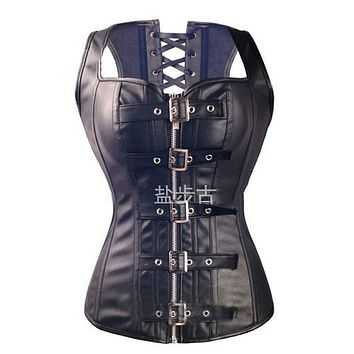 Free shipping Sexy Black Faux Leather Buckle Overbust Waistcoat Corset Top Steampunk women Bustier Cincher Corselet CO31