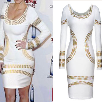 Bronze Detail Print Scoop Neck Bodycon Mini Dress